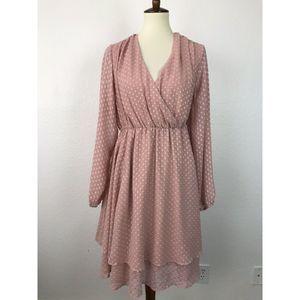 Torrid Blush Chiffon Swiss Dot Dress